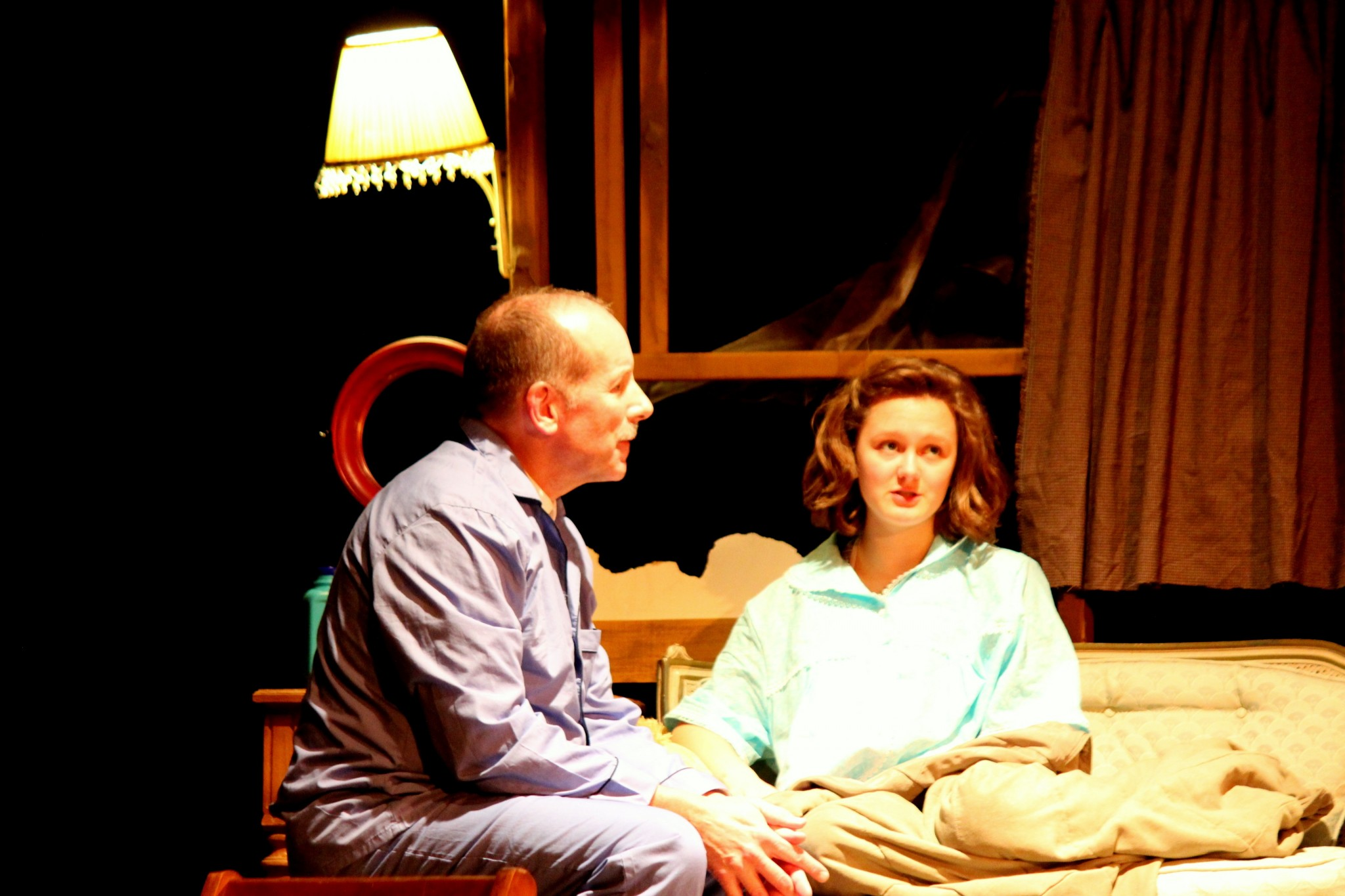 """Jeff Buchanan and Zoe Holland as Otto and Anne Frank in the Fremont Community Theatre's upcoming performance of """"The Diary of Anne Frank."""" (Photo courtesy of Jacqueline DeFriece)"""