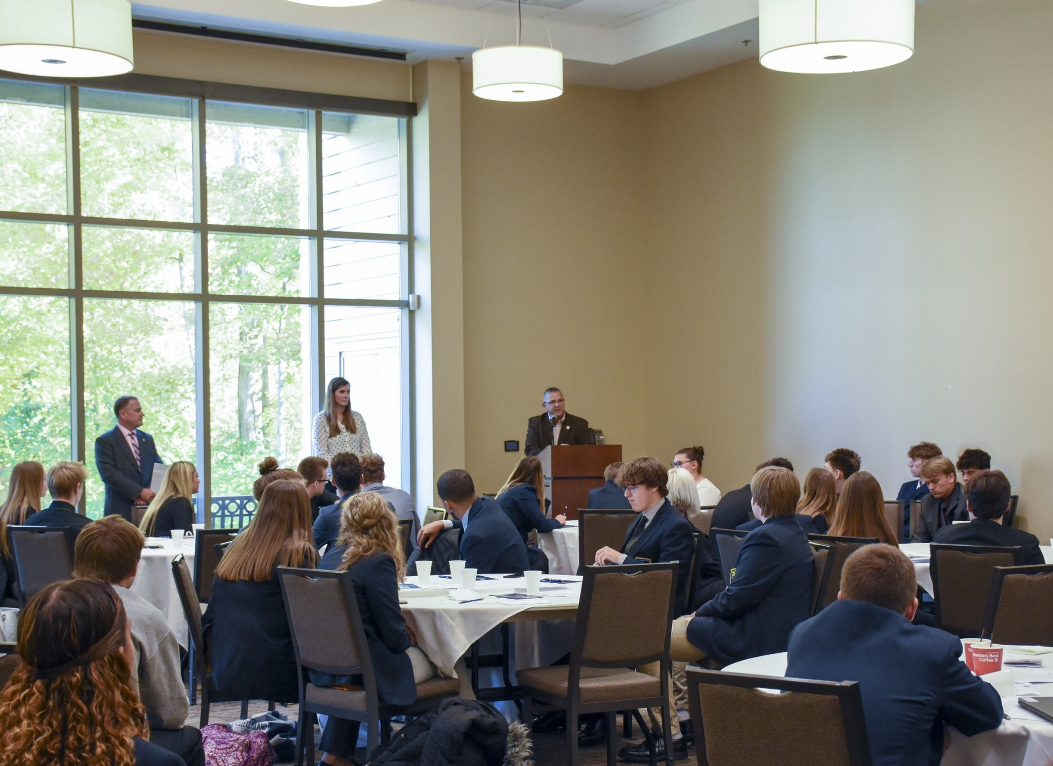 Terra State President Dr. Ron Schumacher congratulating the DECA participants. (Submitted photo)