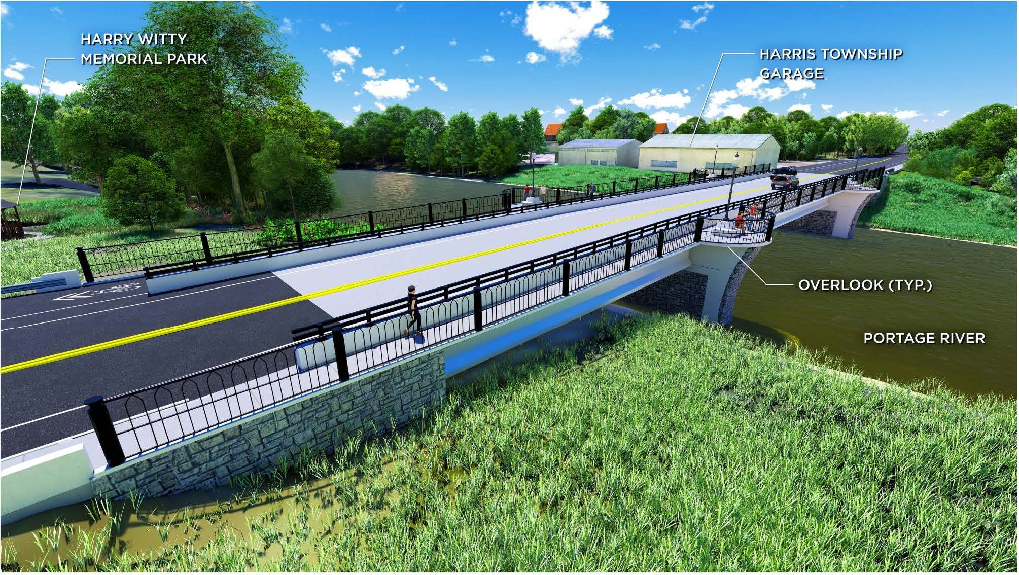 A rendering of the State Rt. 51 bridge over the Portage River in Elmore. (Submitted by ODOT)
