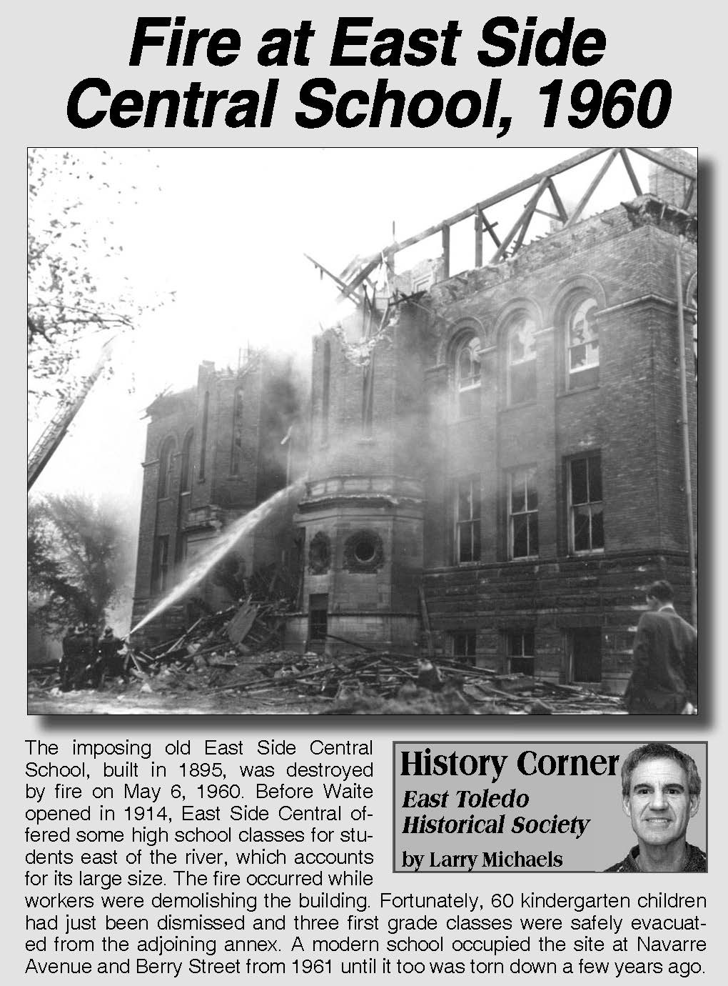 Fire at East Side Central School, 1960