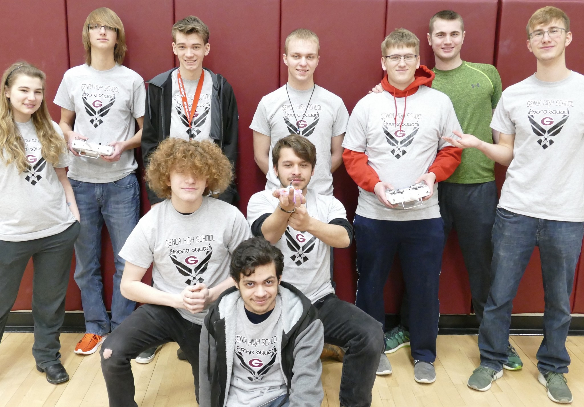 The Genoa Drone Team includes (front) Damyon Cruz; (center) Blaine Maluchnik and Nathan Uribes and (top) Savannah Wick, Nolan Weaver, Matt Robinson, Adam Vargo, Jacob Hart, Brandon Trumbull and Nick Weaver. (Submitted photo)