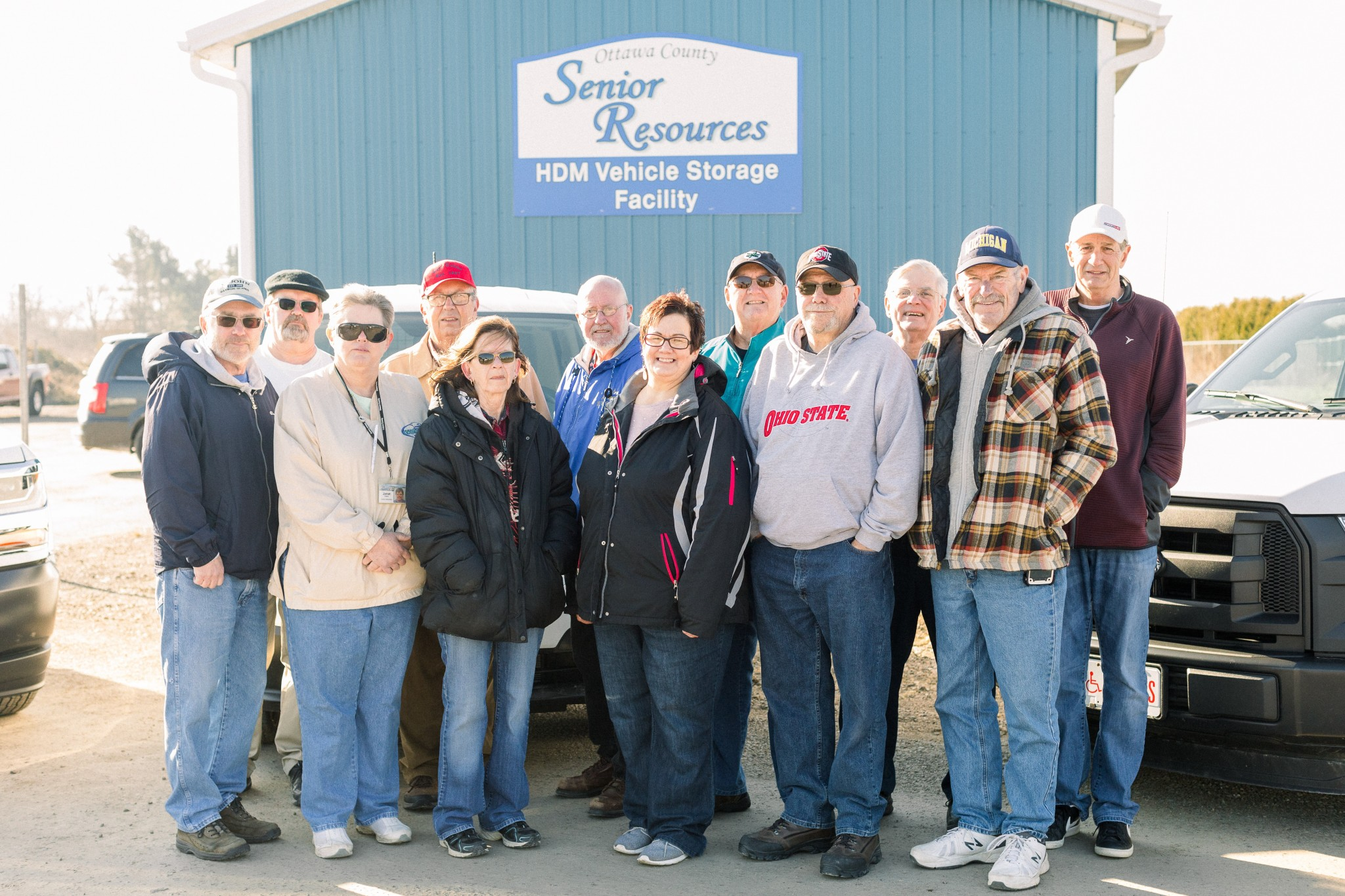 """In celebration of """"Home Delivered Meal Driver Month,"""" Ottawa County Senior Resources honored drivers (front row) Tom Rex, Janet Reed, Carol Holbrook, Dorla Risch, Jim Mizener and Gary Mohrman. (Second row) Eugene Dunfee, Terry Breymaier, Art Blausey, Dean Rothaar, Ray Krofft and Scott Young. Driver Tom Heim is not pictured.  (Submitted photo)"""