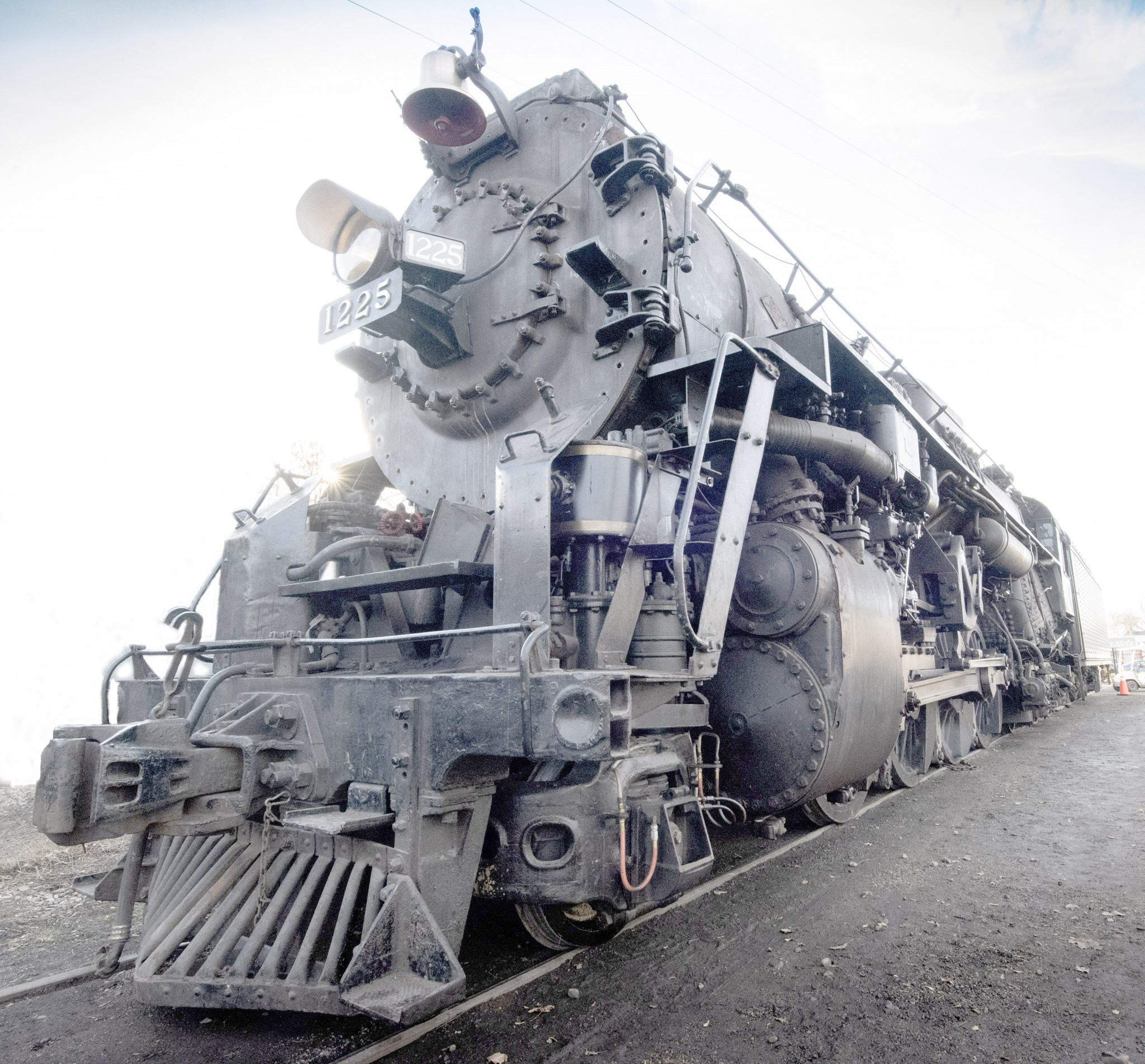 The 440-ton Pere Marquette 1225 steam locomotive is the real power behind the Polar Express, pulling a 15-car train every holiday season at the Steam Railroading Institute in Owosso, Michigan.