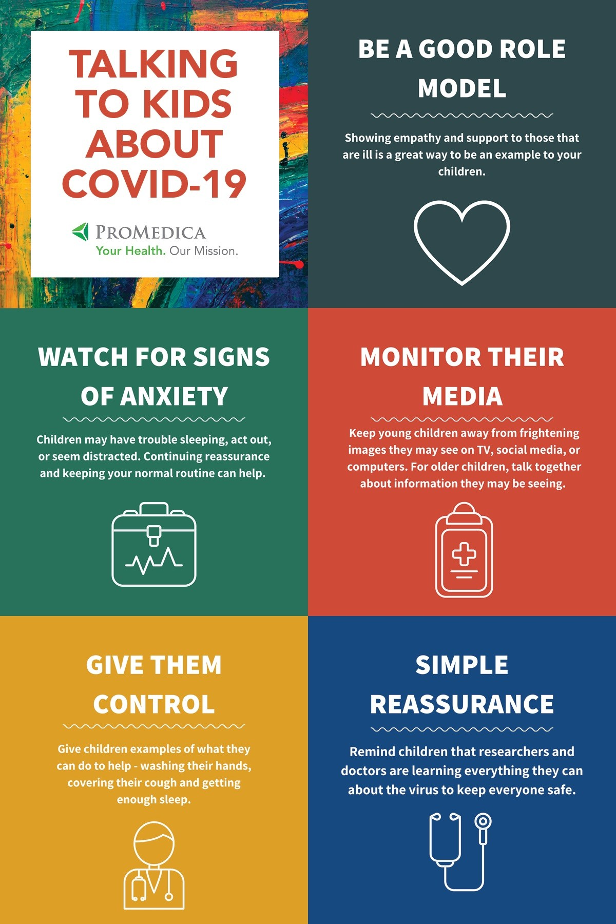 ProMedica and the American Academy of Pediatrics also offers the following tips for talking to kids about COVID-19.