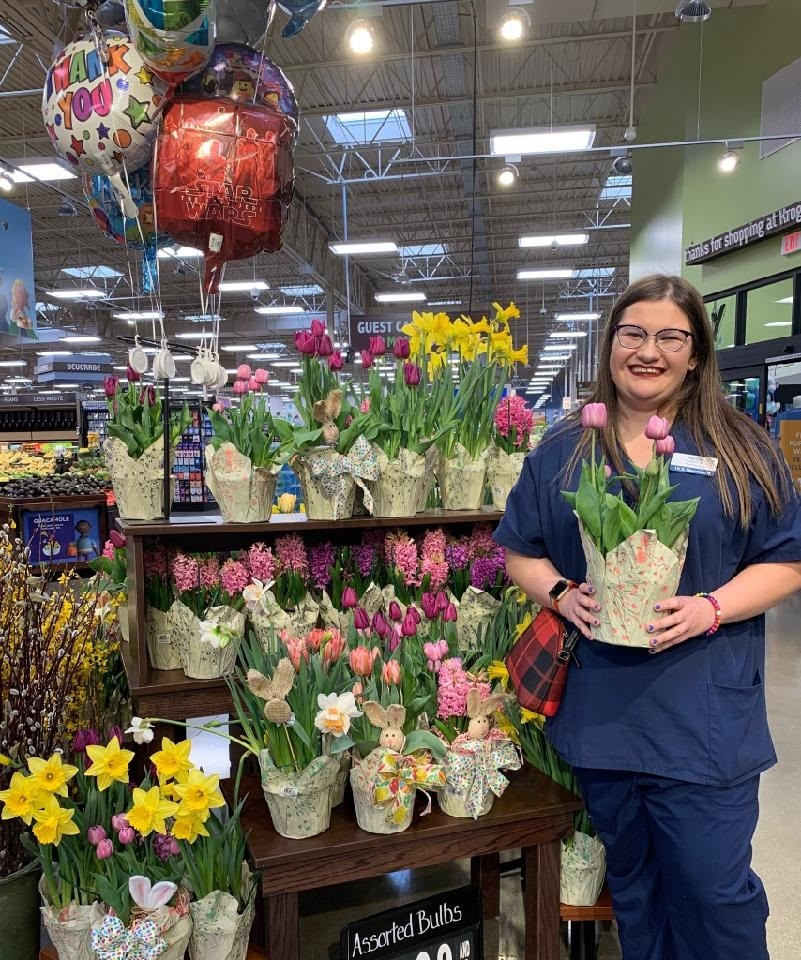Perrysburg Commons Retirement Center employee Paige Fausnaugh in the floral department at Kroger in Perrysburg. (Submitted photo)