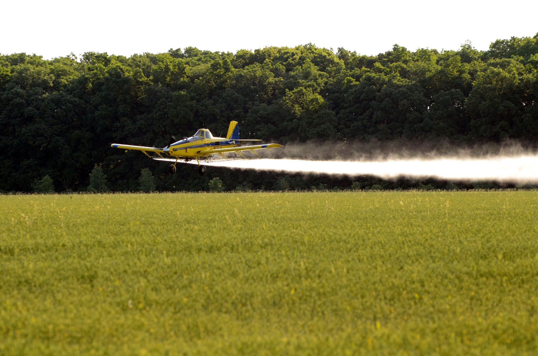 An airplane applies crop protection materials at a farm in Curtice. (Press file photo by Ken Grosjean)