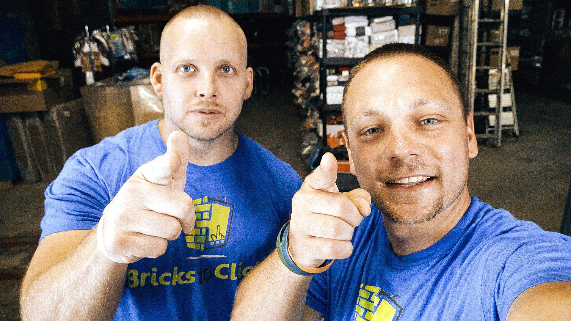 At left, Chris Clay with Chuck Popovich, owner of Bricks to Clicks. (Photo courtesy of A&E 2020)