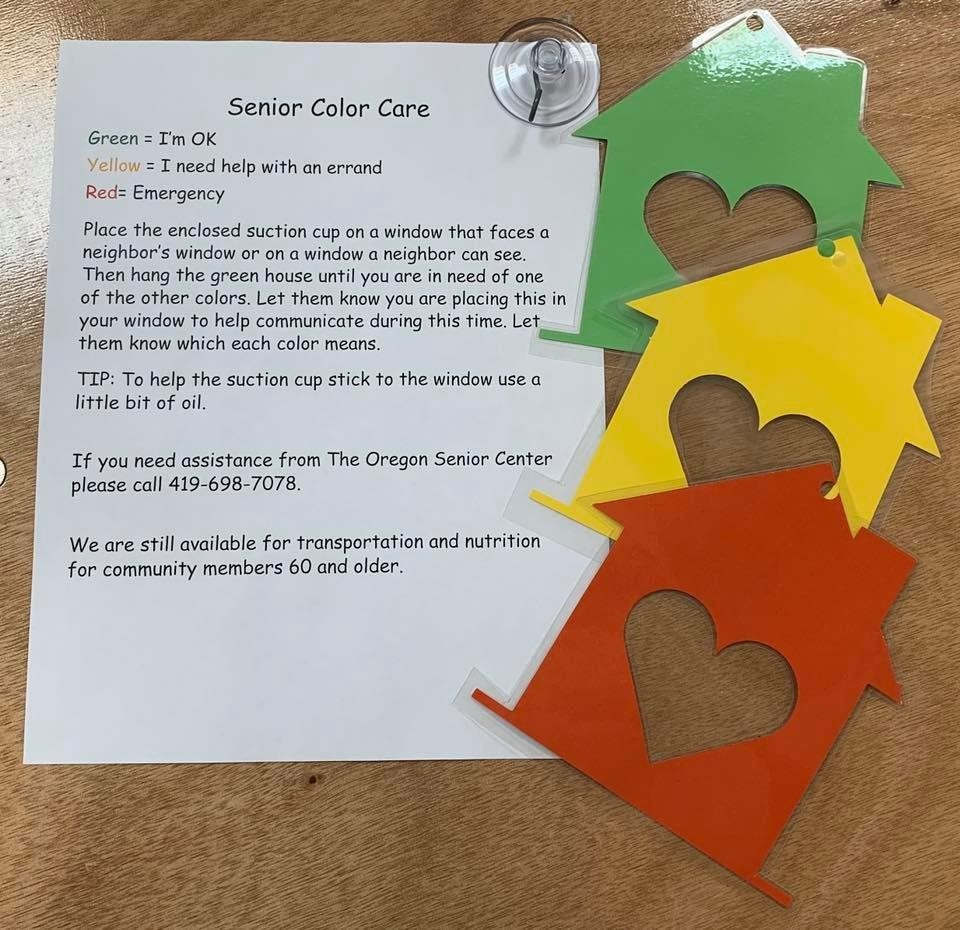The Oregon Senior Center is offering Color Care Kits to enhance safety for homebound seniors and those social distancing at home, (Submitted photo)
