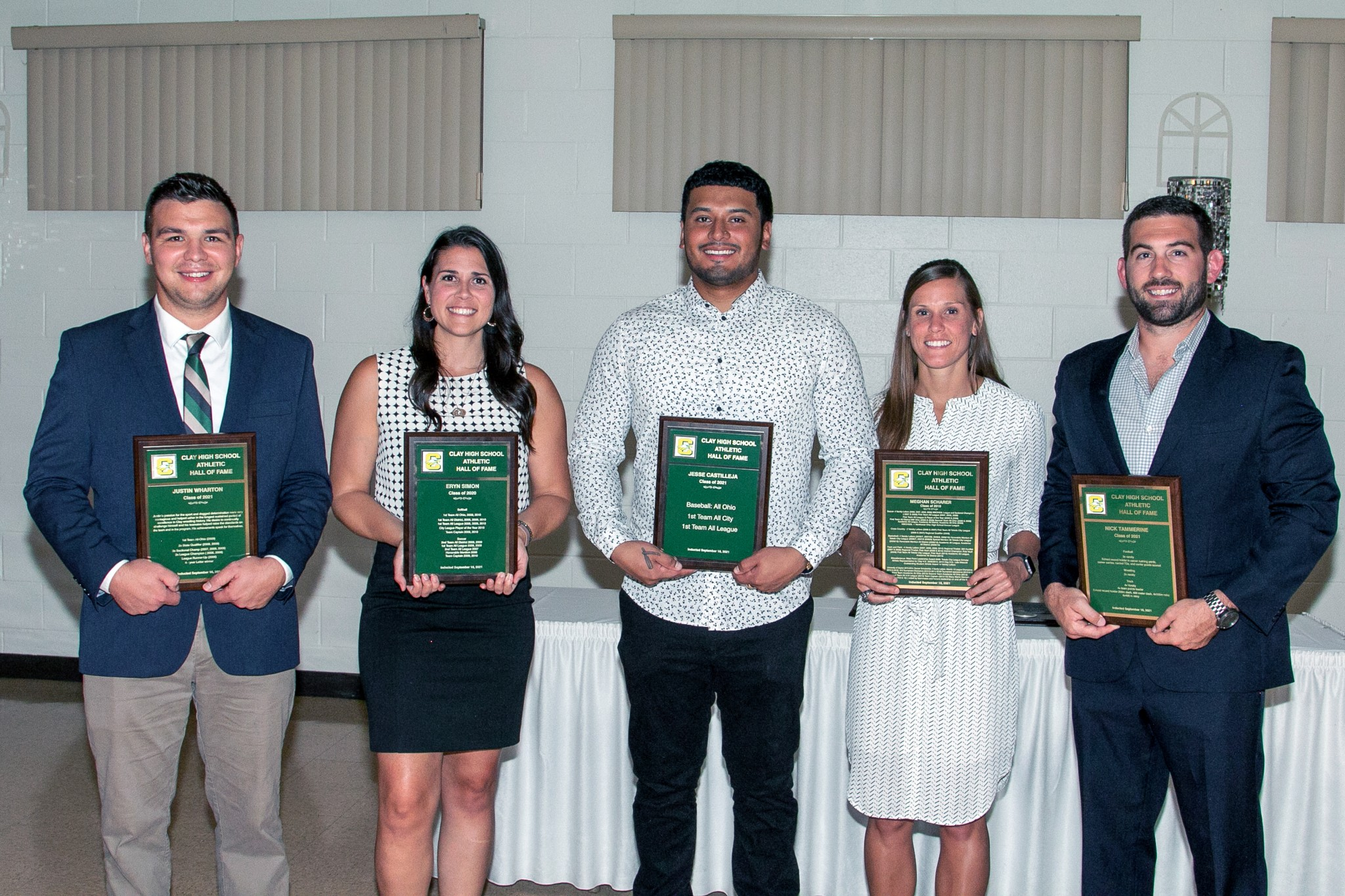 Clay Athletic Hall of Fame inductees (left to right) Justin Wharton, Eryn Simon, Jesse Castilleja, Meghan Scharer and Nick Tammerine. (Photo by Amy Hansen)