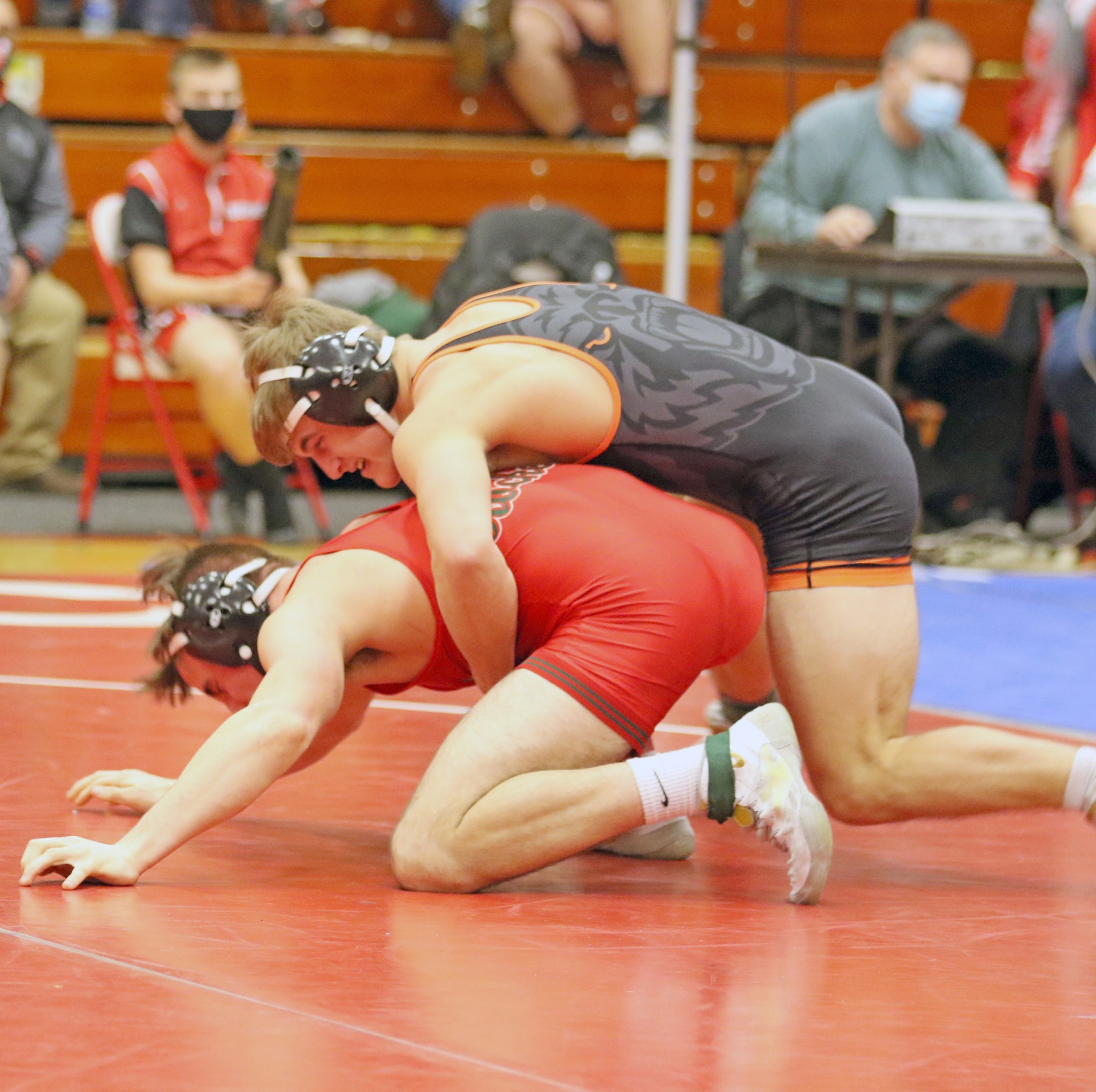 Gibsonburg sophomore wrestler Connor Smith looking to get a takedown. Smith, a Sandusky Bay Conference Bay/River Division champion, is undefeated at 32-0 (Photo by Doug Hise)