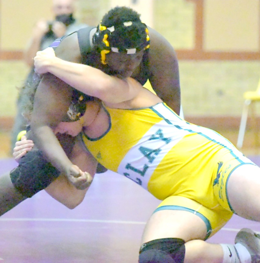 """Waite 285-pound wrestler Gary Moody on his way to pinning a Clay opponent earlier this season. (Photo courtesy Innovations Portrait Studio/<a href=""""http://www.InnovationsVisualImpact.com"""">www.InnovationsVisualImpact.com</a>)"""