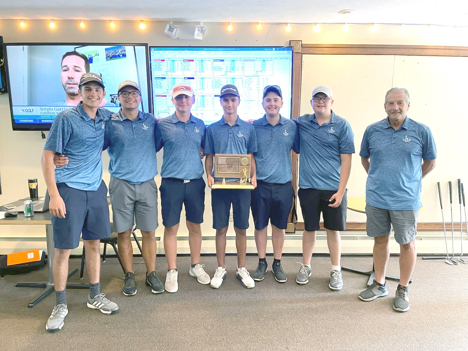 Lake golfers (left to right) Myles Lowe, Chase Osborn, Ryan Wagner, Ben Luoma, Jack Walsh, Carson Delauter, and coach Mike DeStazio